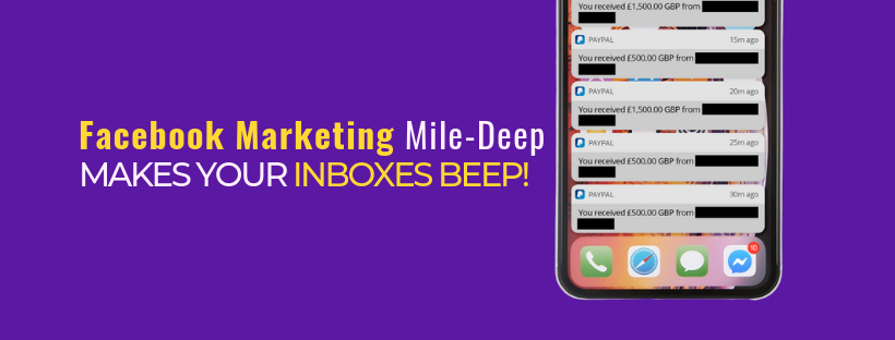 iPhone filled with PayPal notifications and ten unread Facebook messages generated through Mile-Deep Marketing