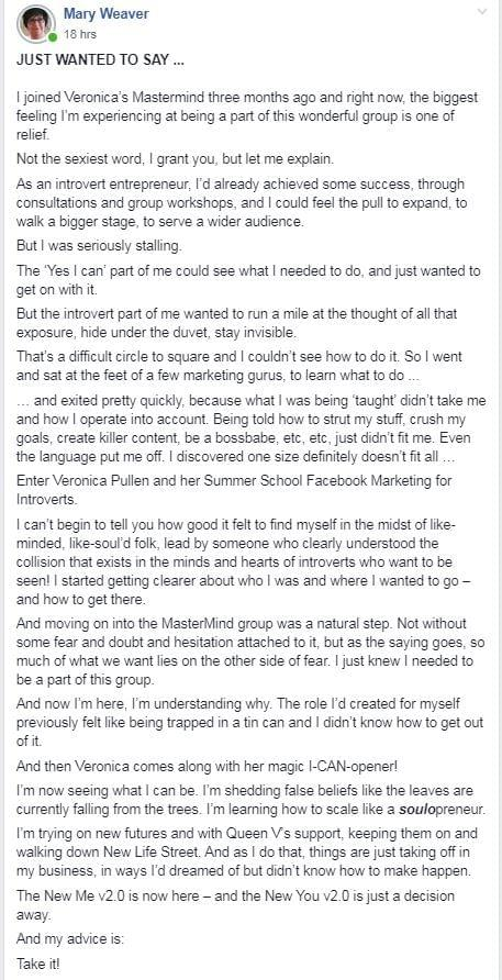 Mary Weaver Mastermind Testimonial Post